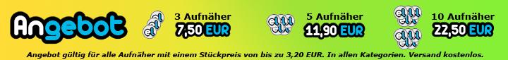 Angebot im Shop: 3 Aufnäher 10,59 EUR, 5 Aufnäher 16,59 EUR, 10 Aufnäher 31,59 EUR inkl. Verpackung & Versand